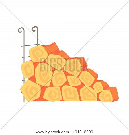 Firewood on metal stand vector Illustration isolated on a white background