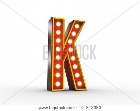 High quality 3D illustration of the letter K in vintage style with light bulbs illuminating it.
