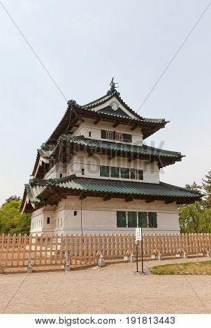 HIROSAKI JAPAN - MAY 23 2017: Main keep (donjon) of Hirosaki Castle. Was erected by Tsugaru Nobuhira in 1611 reconstructed in 1810 Important Cultural Property of Japan