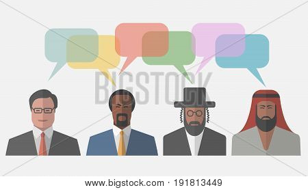 People icon with speech clouds. Vector illustration.