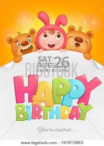 Happy Birthday invitation card with girl in pink bunny costume. Vector illustration