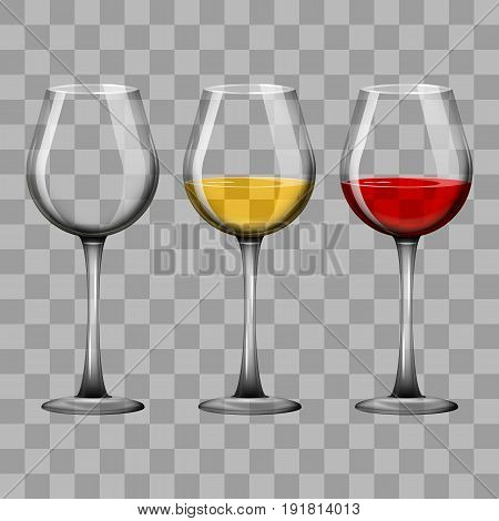 Vector illustration. Realistic glass goblets with red and white wine and empty. Design for a poster, business card, banner.