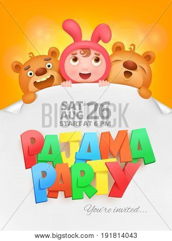 pajama party invitation card with cartoon funny characters. Vector illustration