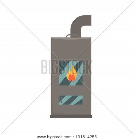 Typical interior iron wood burning stove vector Illustration isolated on a white background