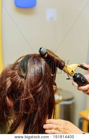 Beauty, Hairstyle, Blow-dry And People Concept - Close Up Of Young Woman And Hairdresser