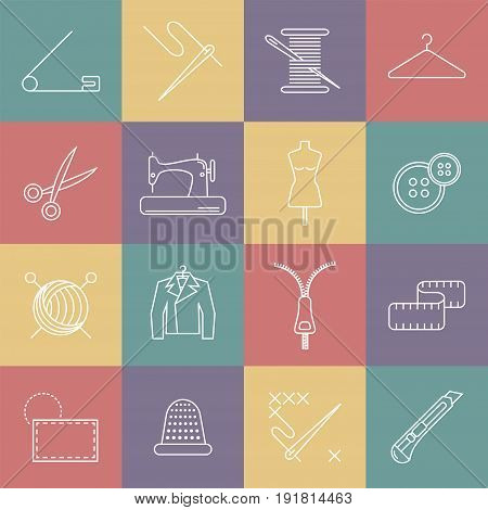 Sewing and needlework line icons. Vector illustration.
