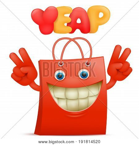 Red sale bag emoticon cartoon character with yeap title. Vector illustration.