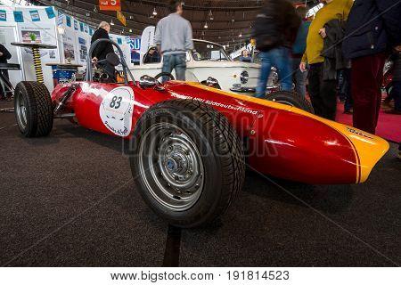 STUTTGART GERMANY - MARCH 03 2017: Race car NSU-Delfosse (NSU FT600-RS) - USA Formel IV. Europe's greatest classic car exhibition