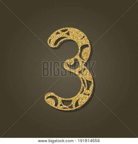 Number three for laser cutting.Round gold pattern. Vector illustration.