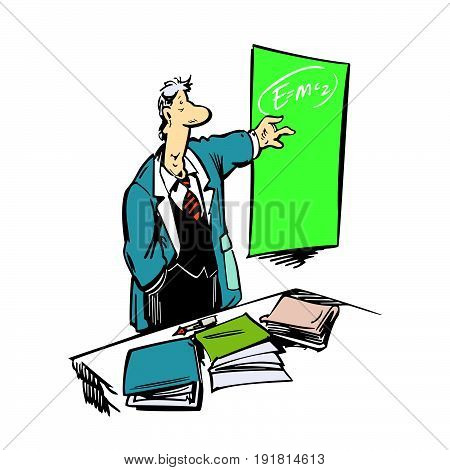 Funny Cartoon professor Making a Presentation. Vector Illustration