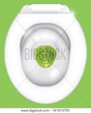 View of the toilet bowl from above