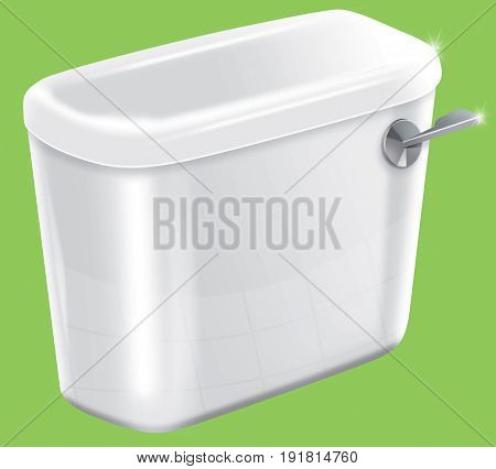 Picture of a isolated sparkiling toilet cistern