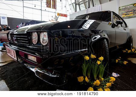 STUTTGART GERMANY - MARCH 03 2017: Mid-size coupe Ford Capri Mk III 2.8 Injection 1982. Europe's greatest classic car exhibition