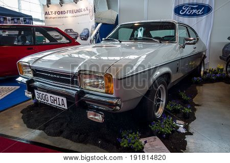 STUTTGART GERMANY - MARCH 03 2017: Mid-size coupe Ford Capri Mk II 3.0 l Ghia 1977. Europe's greatest classic car exhibition