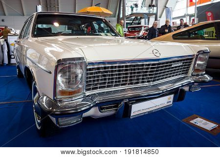 STUTTGART GERMANY - MARCH 03 2017: Full-size luxury car Opel Diplomat B 1972. Europe's greatest classic car exhibition