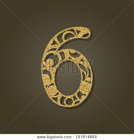 Number six for laser cutting.Round gold pattern. Vector illustration.