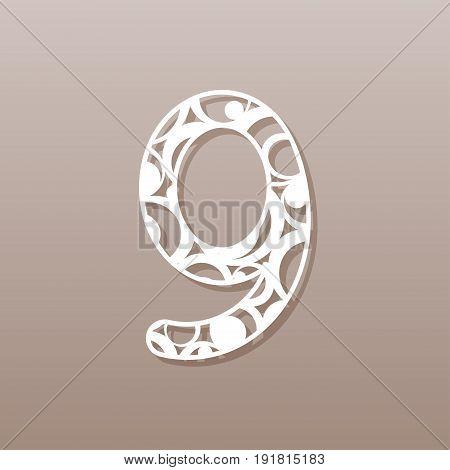Number nine for laser cutting.A round pattern. Vector illustration.
