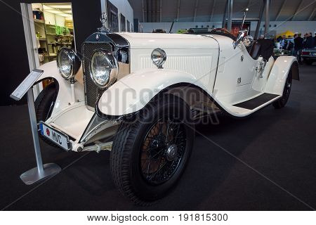 STUTTGART GERMANY - MARCH 03 2017: Large luxury car Mercedes-Benz Nuerburg 460K Cabriolet A (W08) 1929. Europe's greatest classic car exhibition