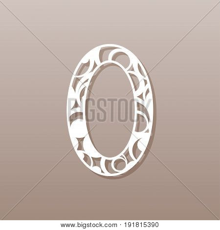 Number zero for laser cutting.A round pattern. Vector illustration.