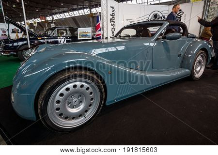 STUTTGART GERMANY - MARCH 03 2017: Sports car Morgan Aero 8 2016. Europe's greatest classic car exhibition