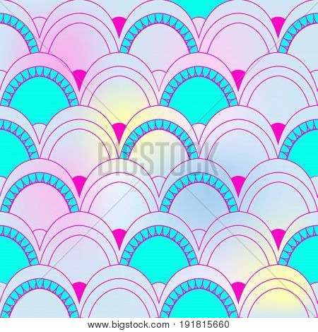 Seamless Pattern Of Fish Scales. Colorful Universal Fish And Mermaid Scales On Rainbow Background. B