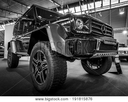 STUTTGART GERMANY - MARCH 03 2017: Off-road car Mercedes-Benz G500 4x4 2. Black and white. Europe's greatest classic car exhibition