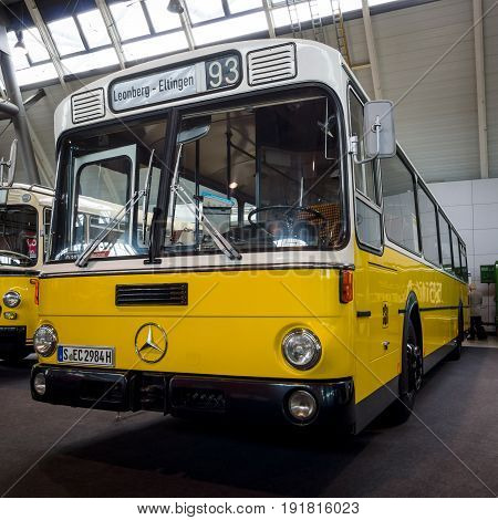 STUTTGART GERMANY - MARCH 03 2017: City bus Mercedes-Benz O 307 1981. Europe's greatest classic car exhibition