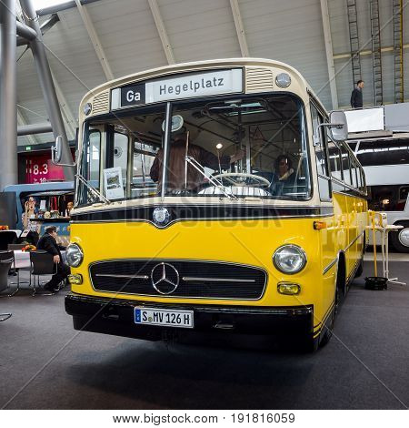 STUTTGART GERMANY - MARCH 03 2017: City bus Mercedes-Benz O 322 1961. Europe's greatest classic car exhibition