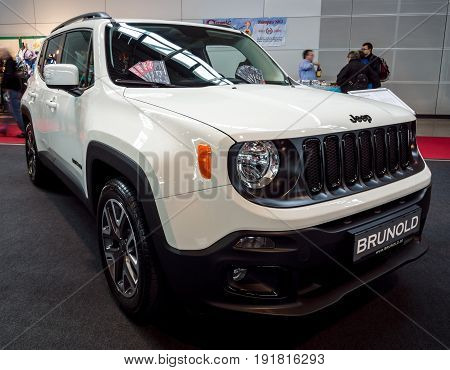 STUTTGART GERMANY - MARCH 03 2017: Subcompact crossover SUV Jeep Renegade (BU) 2017. Europe's greatest classic car exhibition