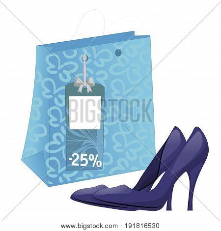 Illustration with shoe package and pair of high-heel shoes. Discount tag. Isolated on white background. Vector