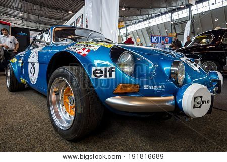 STUTTGART GERMANY - MARCH 03 2017: Sports car Alpine A110 1600 SX 1977. Europe's greatest classic car exhibition