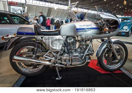 STUTTGART GERMANY - MARCH 03 2017: Motorcycle Ducati 750 SuperSport 1978. Europe's greatest classic car exhibition