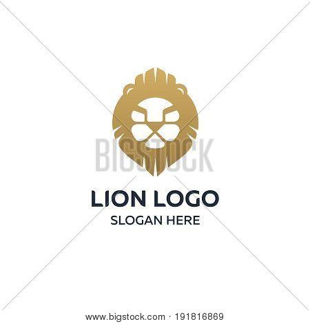 Lion head logo design template, elegant lion head vector illustration on a dark background. EPS 10