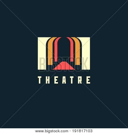 Theatre logo concept - vector illustration. Theatre, museum, bank or academy logo on dark background. EPS 10