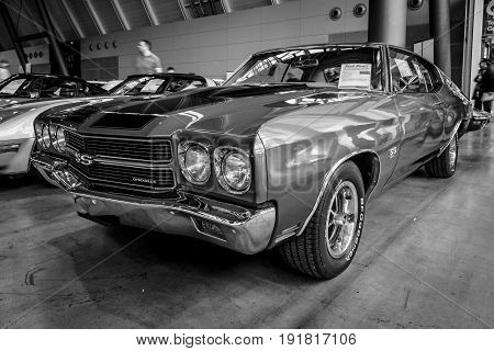 STUTTGART GERMANY - MARCH 03 2017: Mid-size car Chevrolet Chevelle SS 1970. Black and white. Europe's greatest classic car exhibition