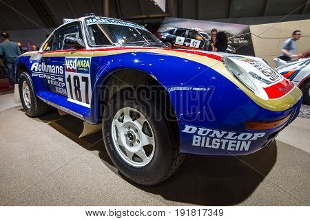 STUTTGART GERMANY - MARCH 03 2017: Sports car Porsche 959 Paris-Dakar 1986. Europe's greatest classic car exhibition