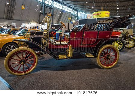 STUTTGART GERMANY - MARCH 03 2017: Retro car Ford Model T Touring 1909. Europe's greatest classic car exhibition