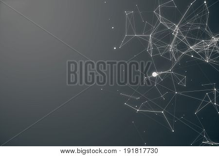 Technological Connection Futuristic Shape. Gray Dot Network. Abstract background, Gray Background. Concept of Network Internet Internet Security 3D rendering
