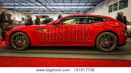 STUTTGART GERMANY - MARCH 03 2017: Grand tourer car Ferrari FF 2014. Europe's greatest classic car exhibition