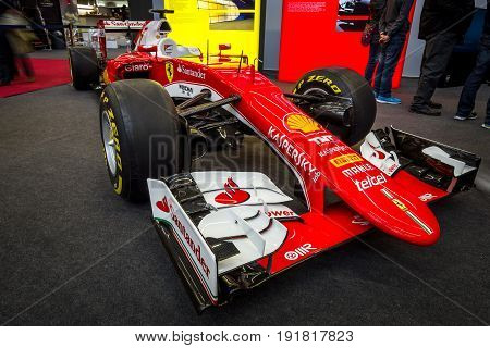 STUTTGART GERMANY - MARCH 03 2017: Formula One racing car Ferrari SF15-T 2015. Europe's greatest classic car exhibition