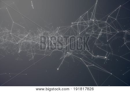Technological Connection Futuristic Shape. Gray Dot Network. Abstract background, Gray Background. Concept of Network Internet Internet Security. 3D rendering