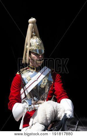 London, UK-May 26, 2017:Horse Guard at Whitehall