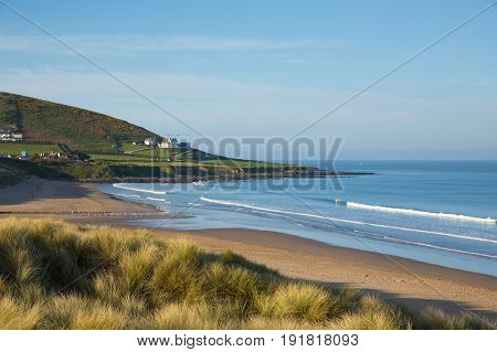 Croyde beach Devon England UK with sand dunes in summer with blue sky