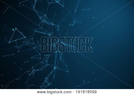 Technological connection futuristic shape, blue dot network, abstract background, blue background, Concept of Network, internet communication 3D rendering