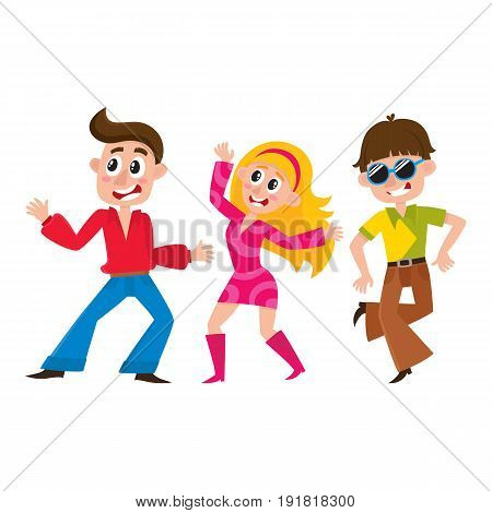 Set of retro disco dancers, Caucasian boys and girls, men and women, cartoon vector illustration isolated on white background. Men and women in colorful clothes dancing at retro disco party
