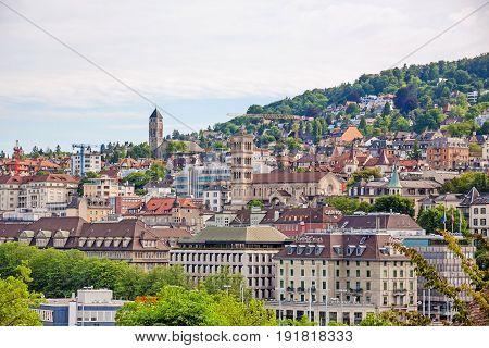 Zurich Switzerland - June 10 2017: View over Zuerich Liebfrauen church Cinema Capitol and Central Plaza Hotel.