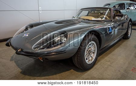 STUTTGART GERMANY - MARCH 03 2017: Sports car Marcos 3000 GT 1969. Europe's greatest classic car exhibition