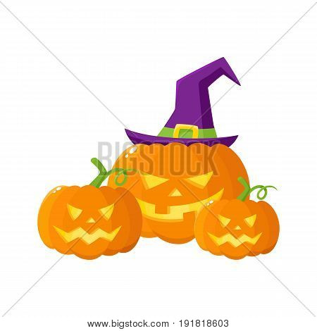 Three Hallowing jack o lanterns, pumpkins, big and small, in pointed witch hat, cartoon vector illustration isolated on white background. Three Halloween pumpkin, jack o lantern in pointed wizard hat