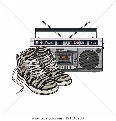 Pair of zebra sneakers and audio tape recorder, boom box from 90s, retro icons, sketch vector illustration isolated on white background. Retro style sneakers and tape recorder from nineties