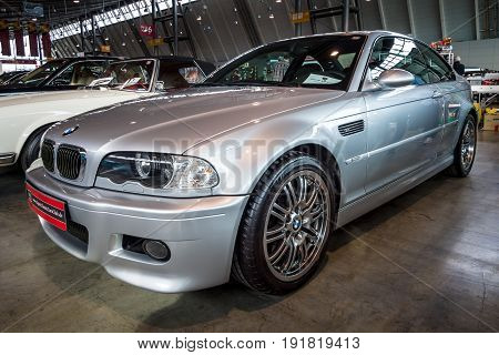 STUTTGART GERMANY - MARCH 03 2017: Entry-level luxury car BMW M3 (E46). Europe's greatest classic car exhibition